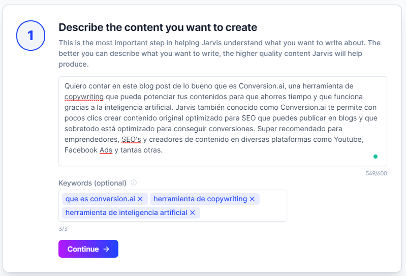 creando contenido con jarvis