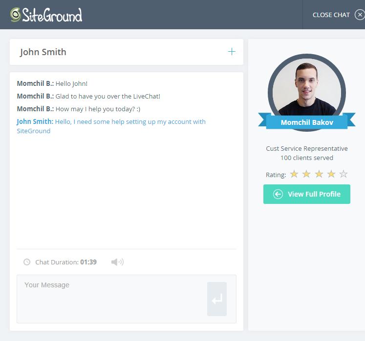 chat de siteground soporte tecnico